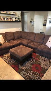 brown suede sectional sofa with ottoman Temescal, 92883