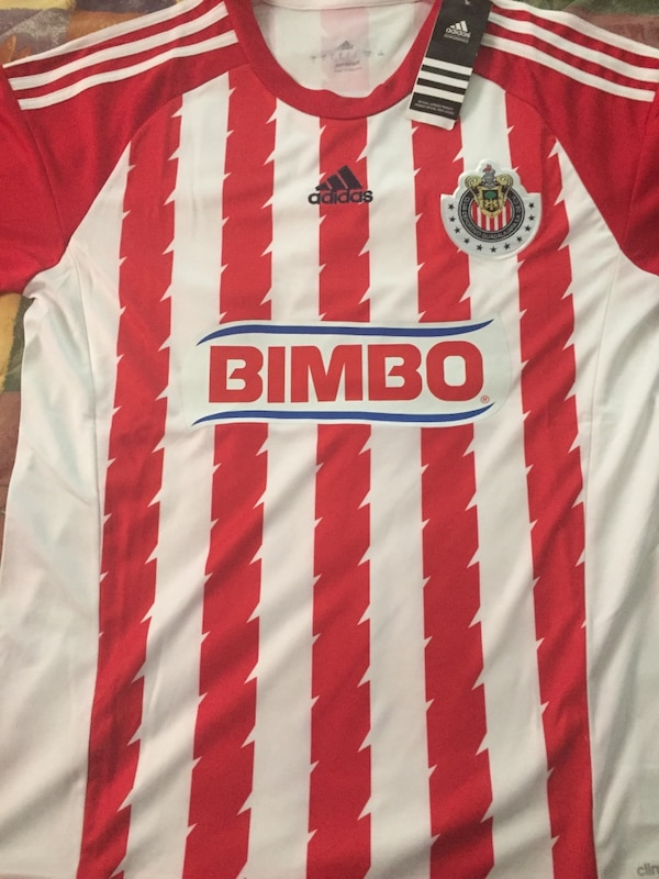 reputable site 3c51c 9a2de red and white adidas bimbo jersey