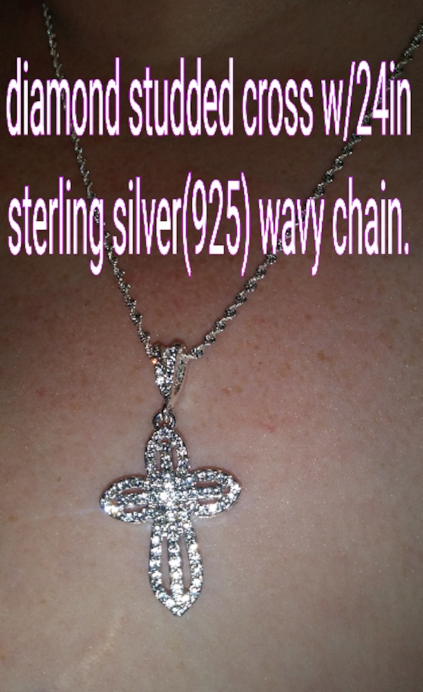 Diamond studded cross & 24in sterling silver wavy chain 85f160ab-d8dc-41ad-8463-4a03706ab195