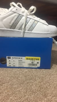 Size 6 1/2 white adidas superstar shoes with box Calgary, T2A 4P4