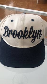 white and black Brooklyn fitted cap