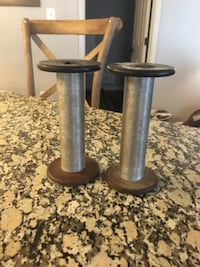 Large metal and wood antique spools Frederick