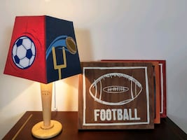 Sports Room Decor Trio with a Lamp