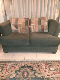 Green sofa bed and love seat with multi colored pillows Norfolk, 23503