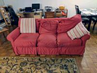 """84"""" Red couch by Rowe. Brookline, 02445"""