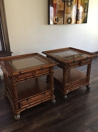 brown wooden framed glass top coffee table Chicago, 60629