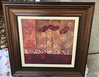 Red poppy flowers painting with brown wooden frame