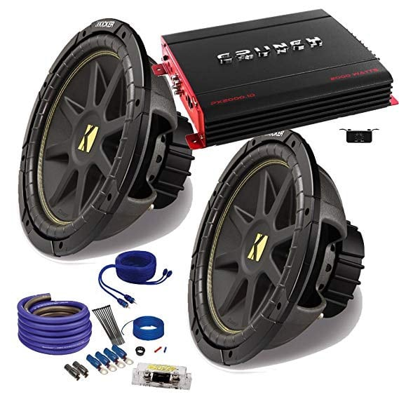 """With installation. 2 kicker 12"""" car subwoofers with box and amplifier"""