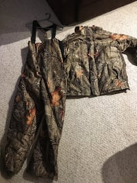 brown and black real tree camouflage zip-up jacket and jumpsuit