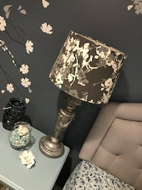 Grey Floral Lamp with Shade Holbrook, 11741