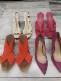 four pairs of assorted-color heels