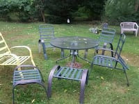 round black metal framed glass top patio table South Kingstown, 02879