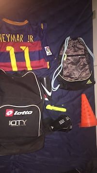 two black and brown Lotto and Adidas backpacks