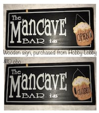 the mancave bar is signage Hagerstown, 21740