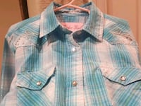 Girl's L blue plaid rodeo snap front shirt Riverbank