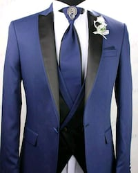 blue and black notch lapel suit jacket Montréal, H2N 1C8