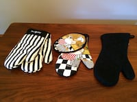 Black Oven Mitts Plates Wine Glasses   Surrey