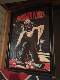 black wooden framed Forbidden Planet movie poster