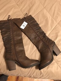 brown leather lace-up side-zip chunky heeled bootis