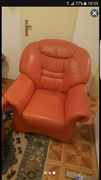 orange Leder Sofa Stuhl 6563 km