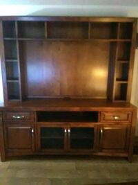 brown wooden TV hutch with cabinet Tigard, 97224