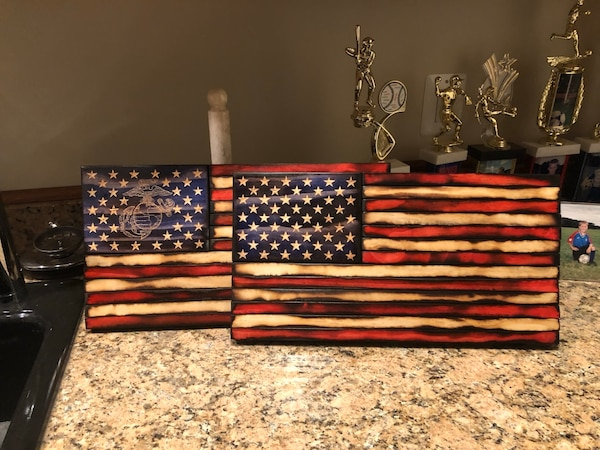 Customizable Wooden American Flags
