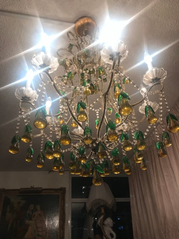 Large antique Italian beaded chandelier with glass pears 3c9172b5-6c6b-4d5b-8c04-a2f6ff3f1714