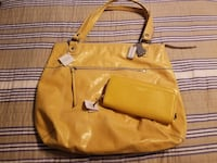 Yellow leather 2-way handbag Chantilly