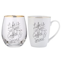 Life is what happens between coffee and wine mug and glass set Mississauga, L5N 7W3