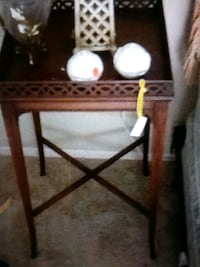 brown wooden framed glass top side table Palm Harbor, 34684