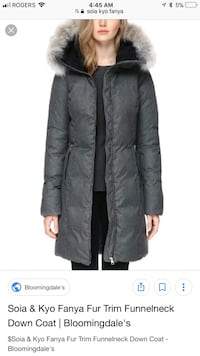 Brand new SOIA and KYO down jacket with coyote fur hood