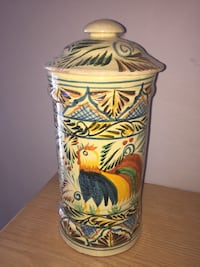 beige, red, andblue rooster printed ceramic container Georgina