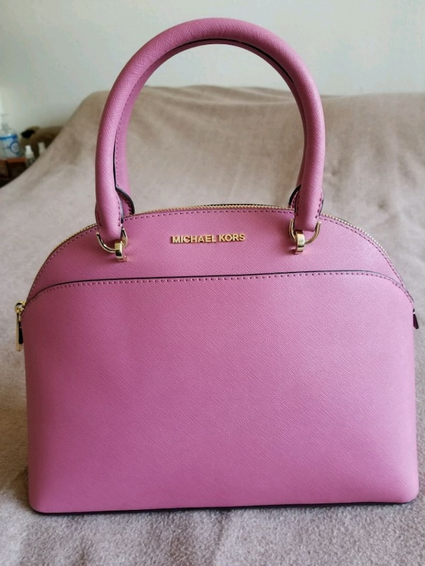 Micheal kors, large cindy dome tulip pink satchel