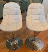 Contemporary Adjustable Height Swivel White Bar Stools