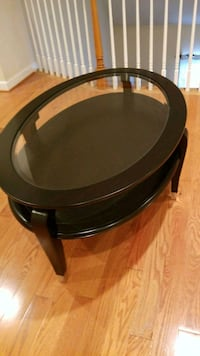 round black wooden coffee table total of 3