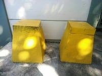 2 cement w wood.pair of bases  top painted yellow