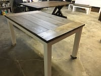 Classic farmhouse table and a bench St. Albert