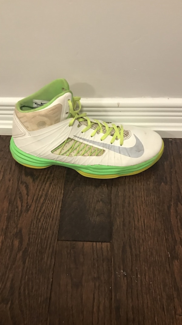 Used white and lime green nike high top sneaker for sale in Innisfil ... 0112093e2