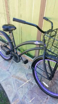 black and purple cruiser bike Costa Mesa