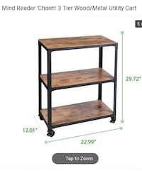 Mind Reader 'Charm' 3 Tier Wood/Metal Utility Cart 2410 mi