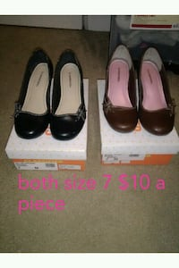 two pairs of black and brown leather flats St. Louis, 63146
