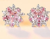 Pink Cherry Blossom Earrings in White Gold Filled Aldie, 20105