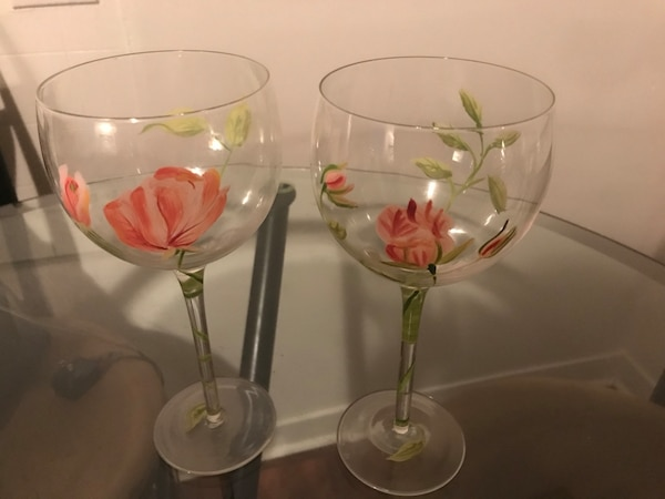 Used Set Of 2 Hand Painted Floral Wine Glasses For Sale In Norwalk