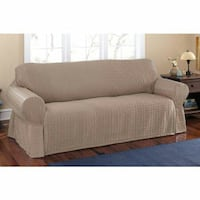 Mainstays Sherwood Woven Solid Fabric Slipcover Sofa, 96 x 96 x 39 Tempe