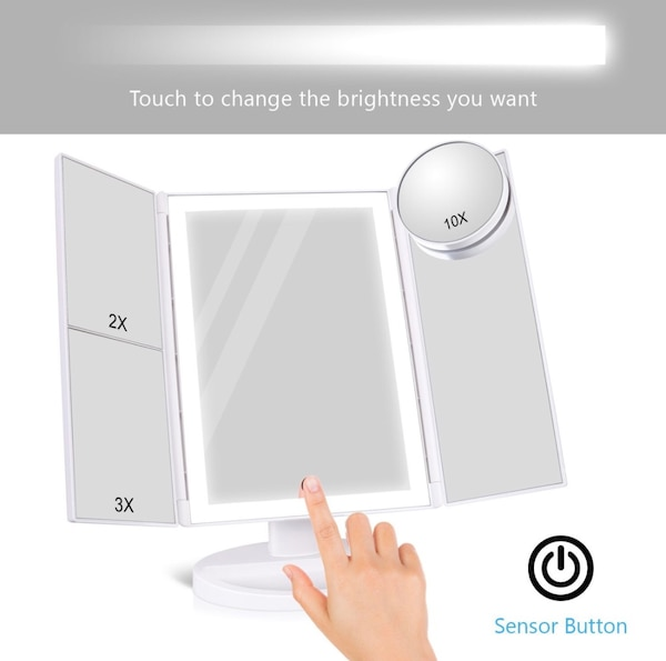 Makeup Mirror with 36 LED Lights, 10x/3x/2x Magnification, 4 Tape-lights  Vanity Mirror with Touch Screen, Battery and USB Powered, Portable