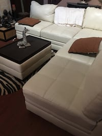 Cream bonded leather sectional Tobyhanna, 18466