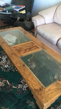 Wood glass top coffee table.  Las Cruces, 88012