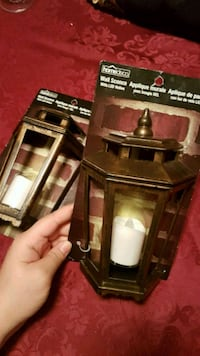 2 Wall Sconces faux metal battery operated