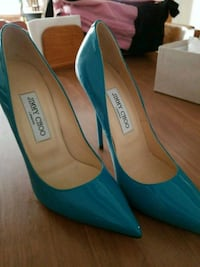 pair of teal pointed-toe pumps Ansonia, 06401