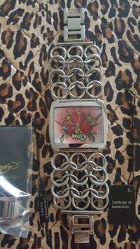 Ed Hardy logo faced analog watch with silver strap Rahway, 07065